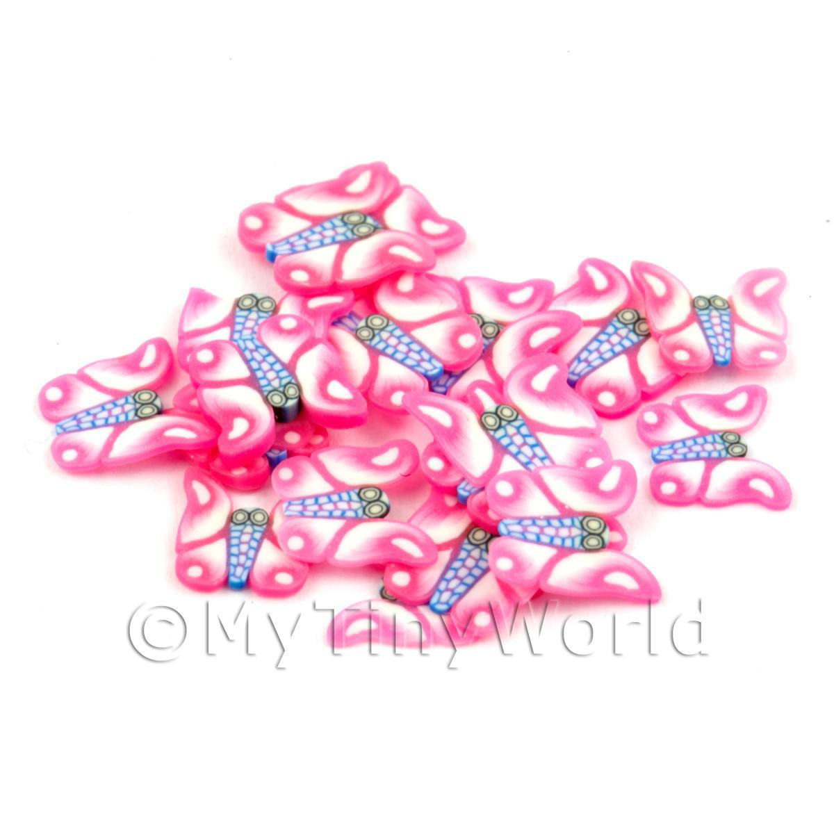 50 Pink Butterfly Cane Slices - Nail Art (CNS17)