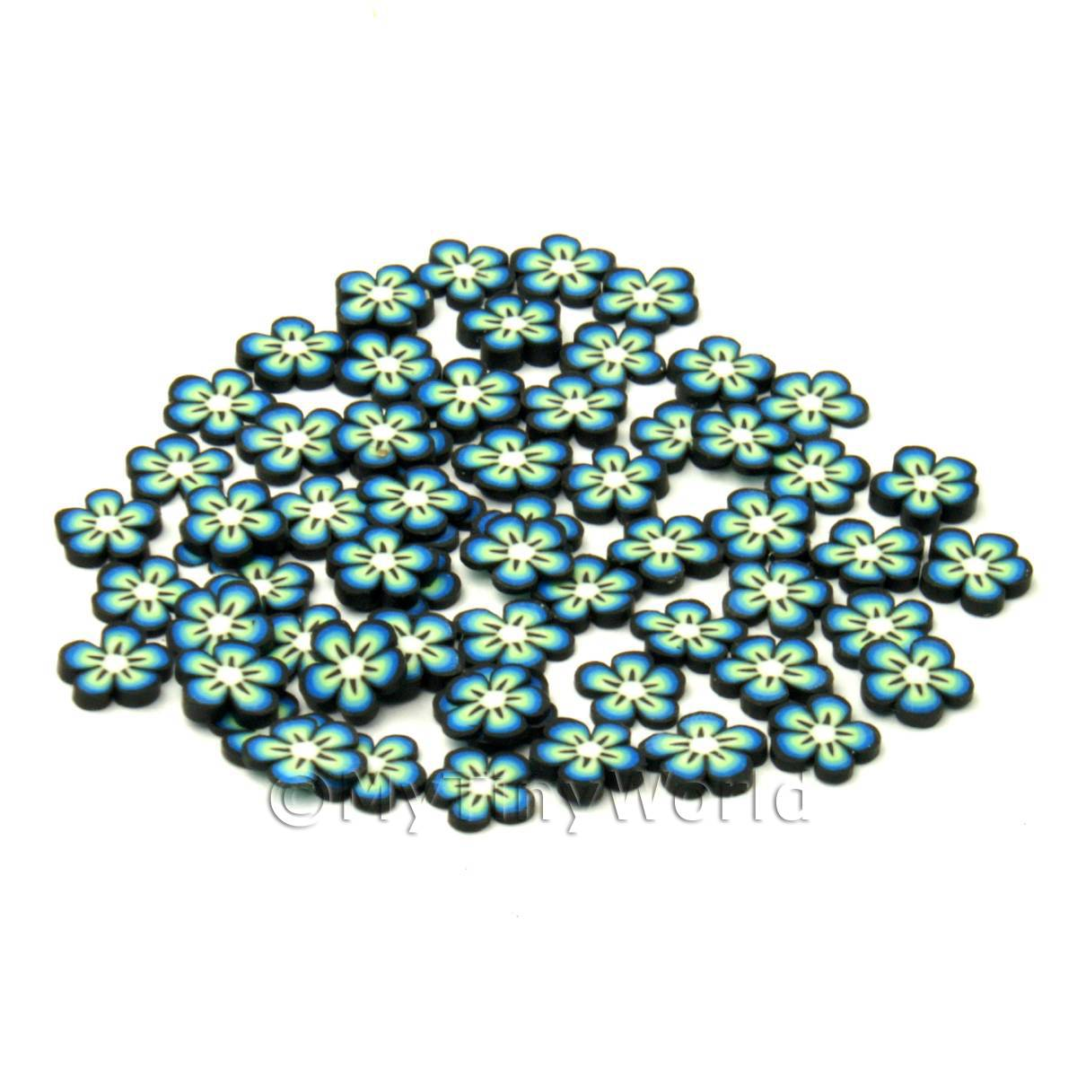 50 Blue Flower Cane Slices - Nail Art (CNS19)