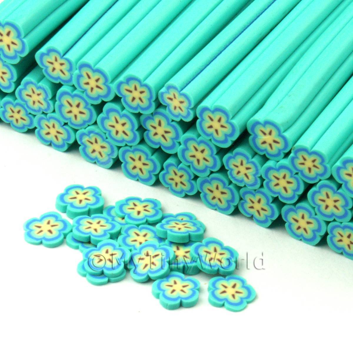 1 Pale Blue Flower Cane - Nail Art (CNC20)