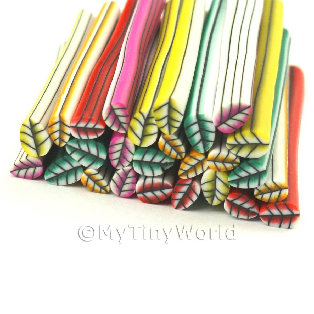 25 Mixed Leaf Canes - Nail Art