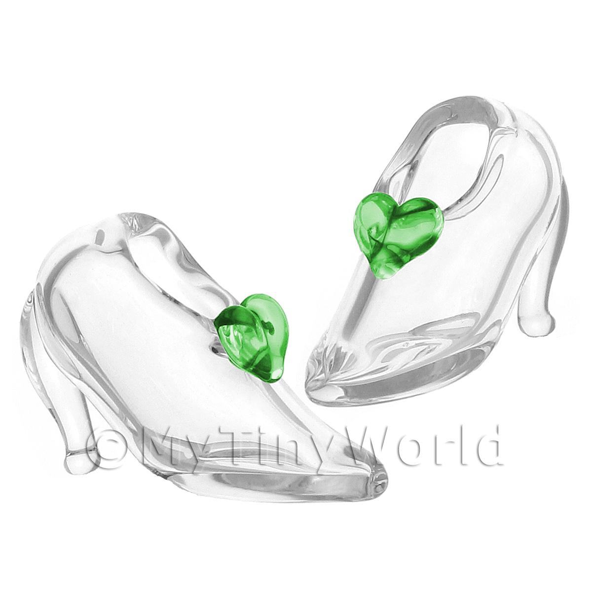 Details about Handmade PALE GREEN Glass Shoes Dolls House Miniatures