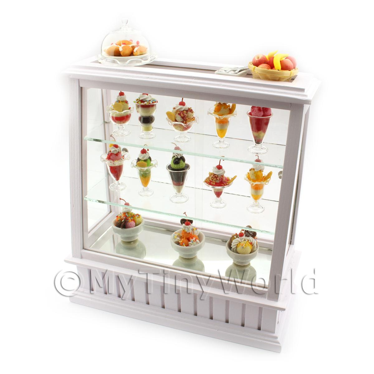 Dolls House Miniature Fully Stocked Ice Cream Display