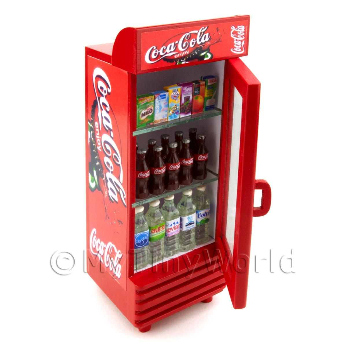 Dolls House Miniature Freestanding Coke Fridge With Contents