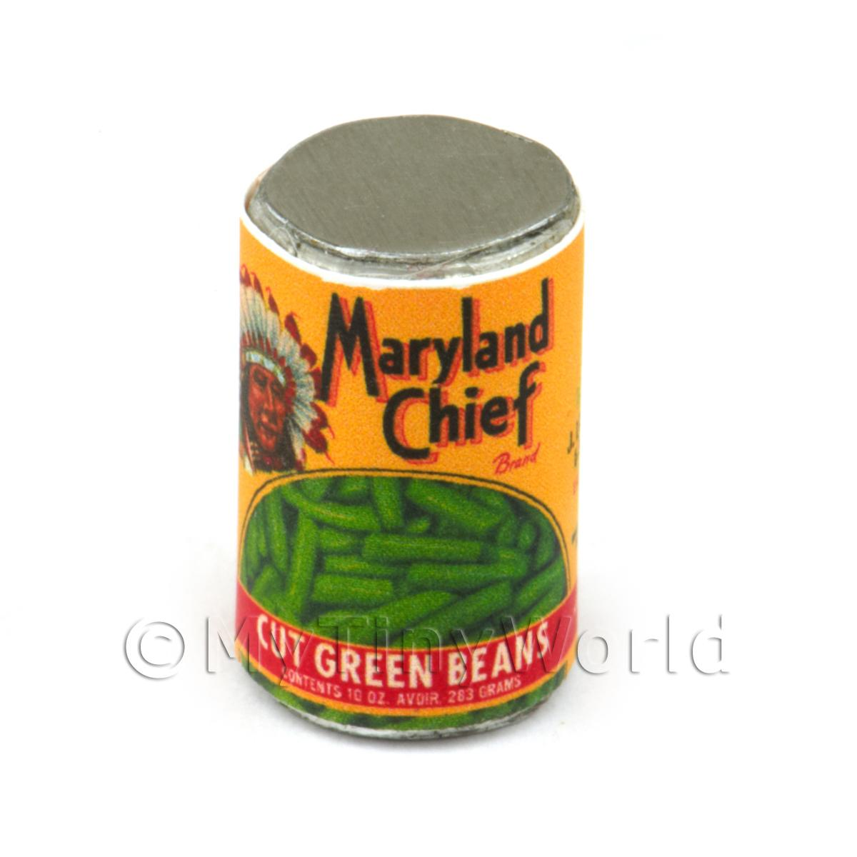 Dolls House Miniature Maryland Chief Green Beans Can (1930s)