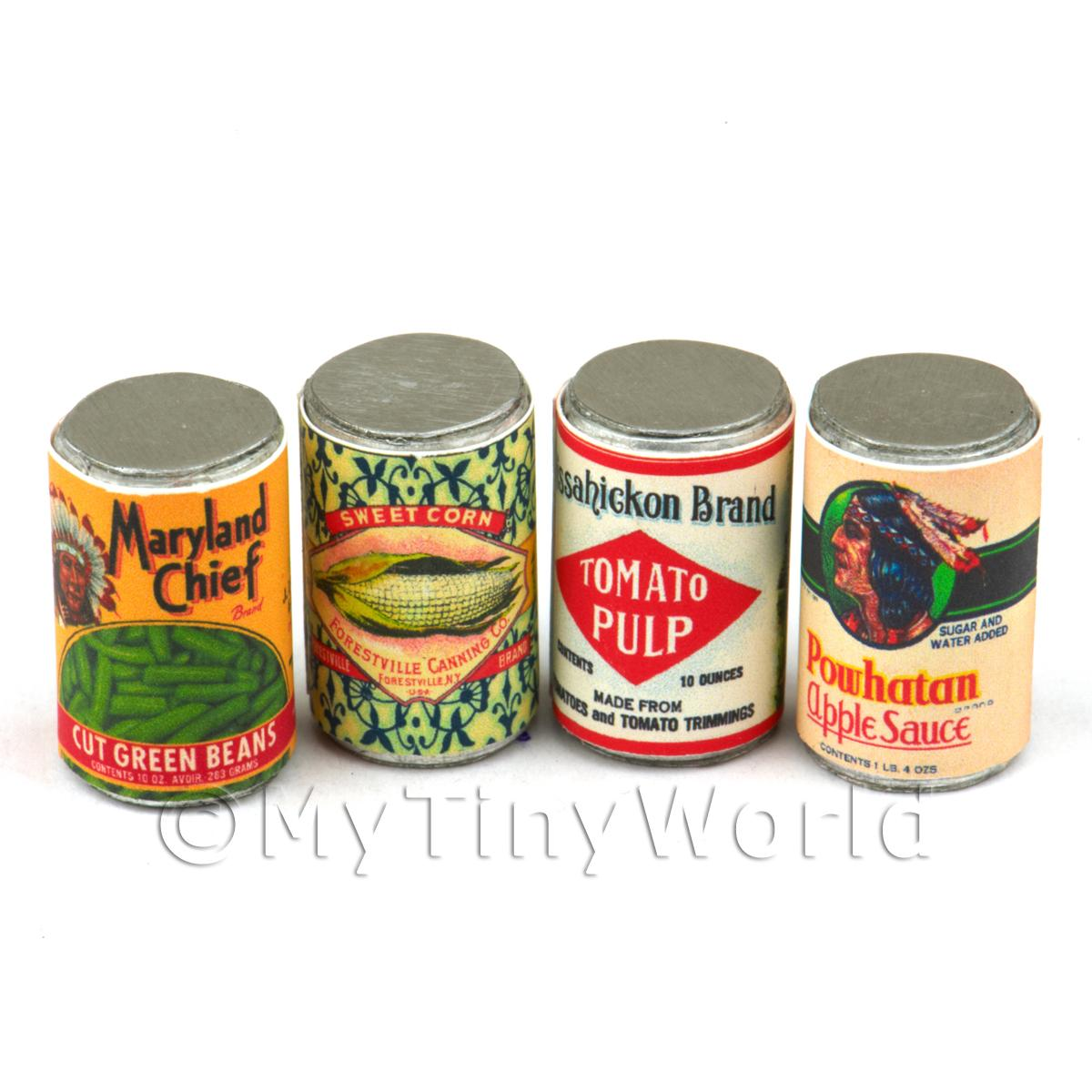 Set Of 4 Assorted Dolls House Miniature Native American Theme Cans