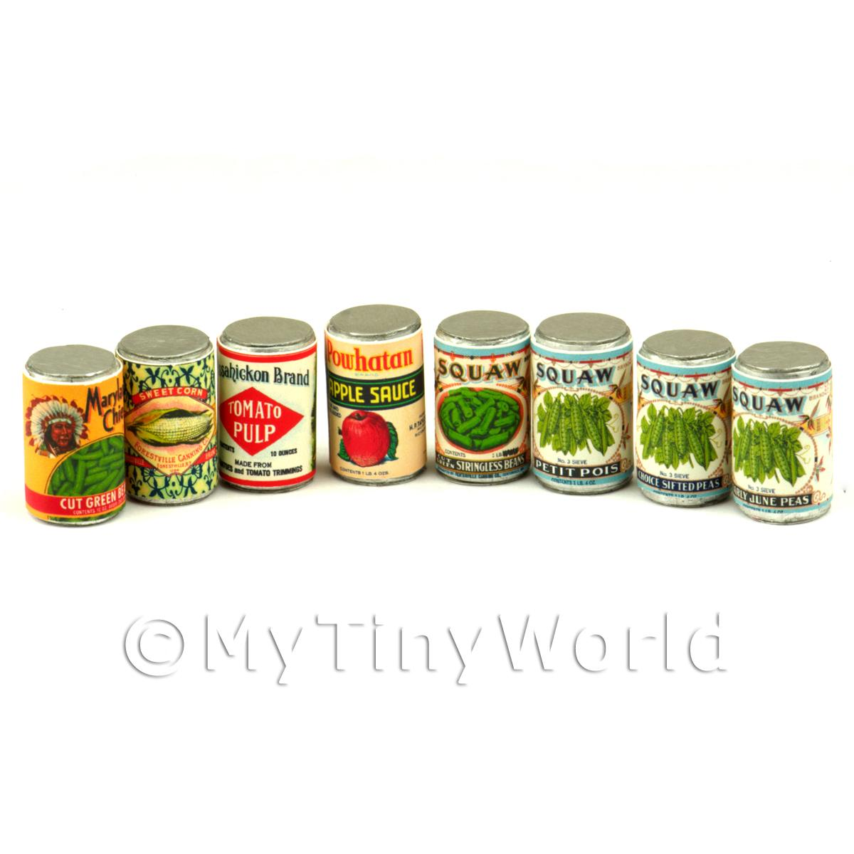 Set Of 8 Dolls House Miniature Native American Theme Cans (1890-1900)