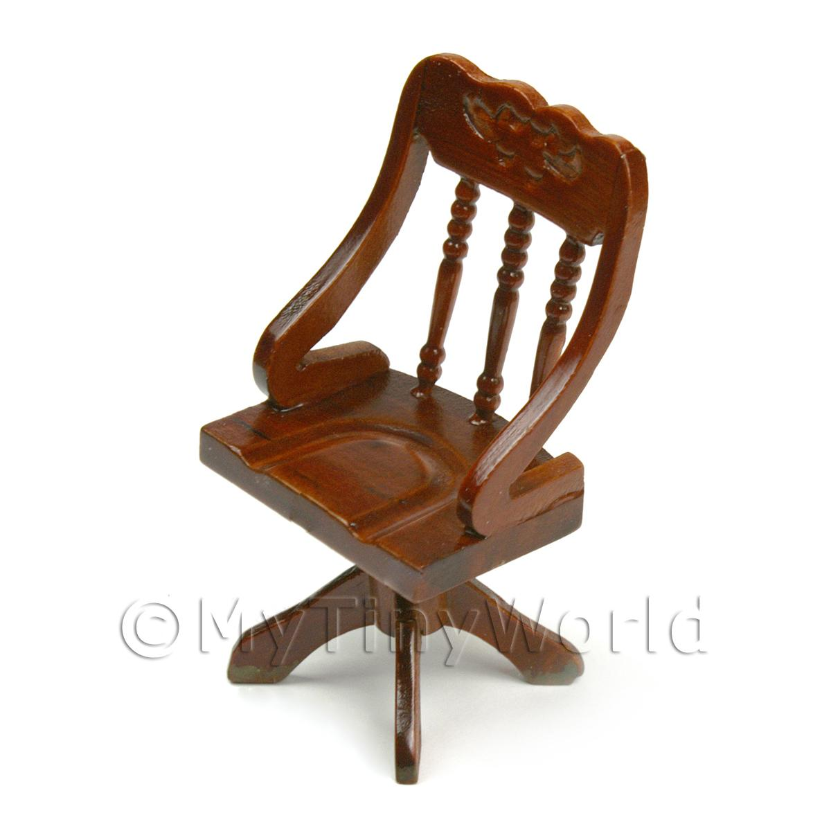Dolls House Miniature Solid Wood Mahogany Coloured Office Chair