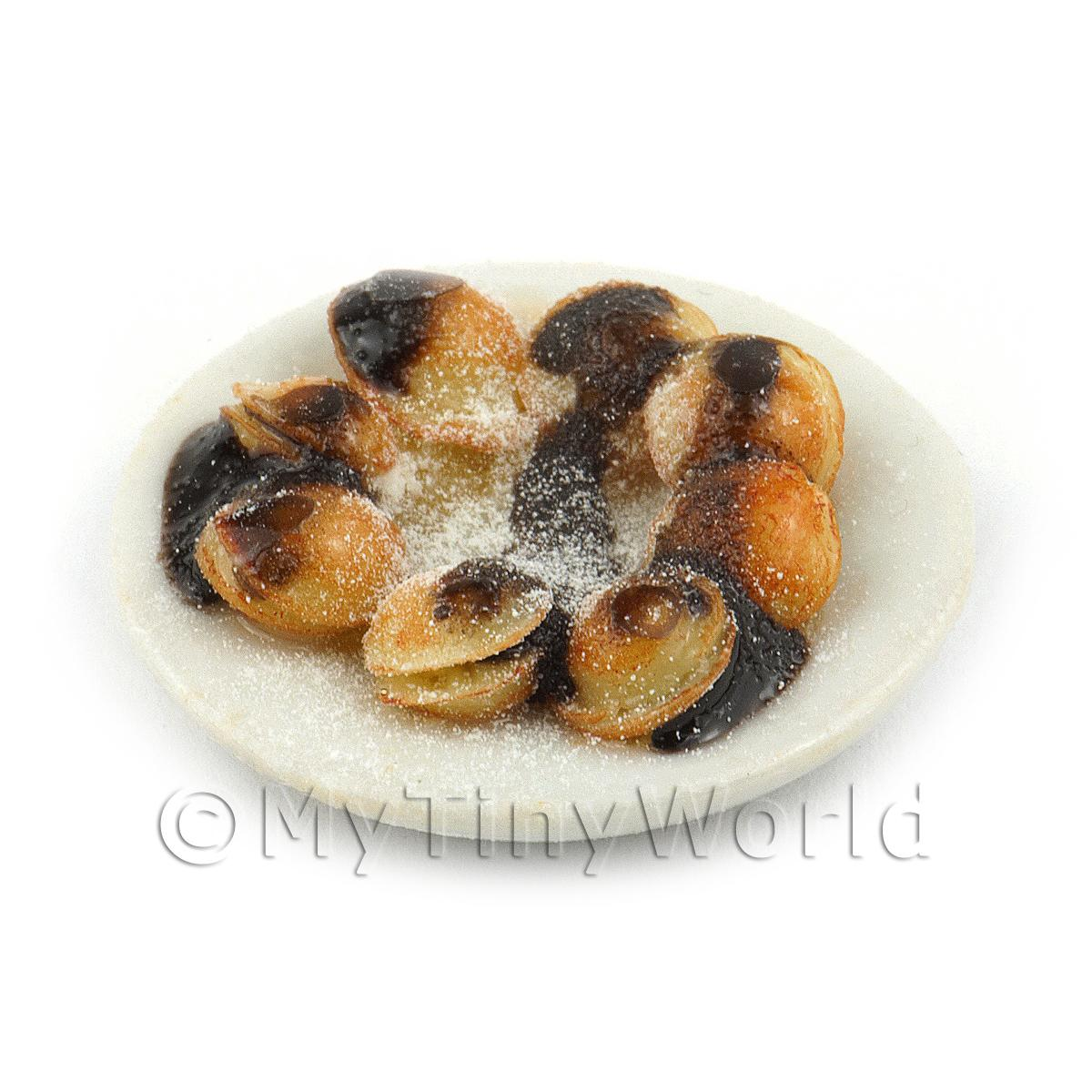 Dolls House Miniature Belgian Pancakes with Chocolate Syrup