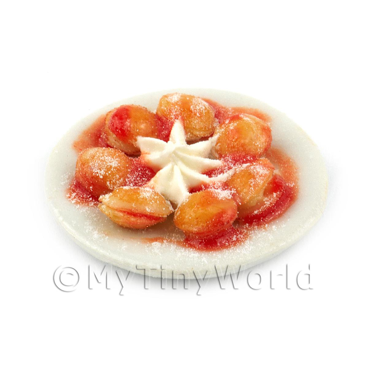 Miniature Belgian Pancakes with Strawberry Sauce and Cream