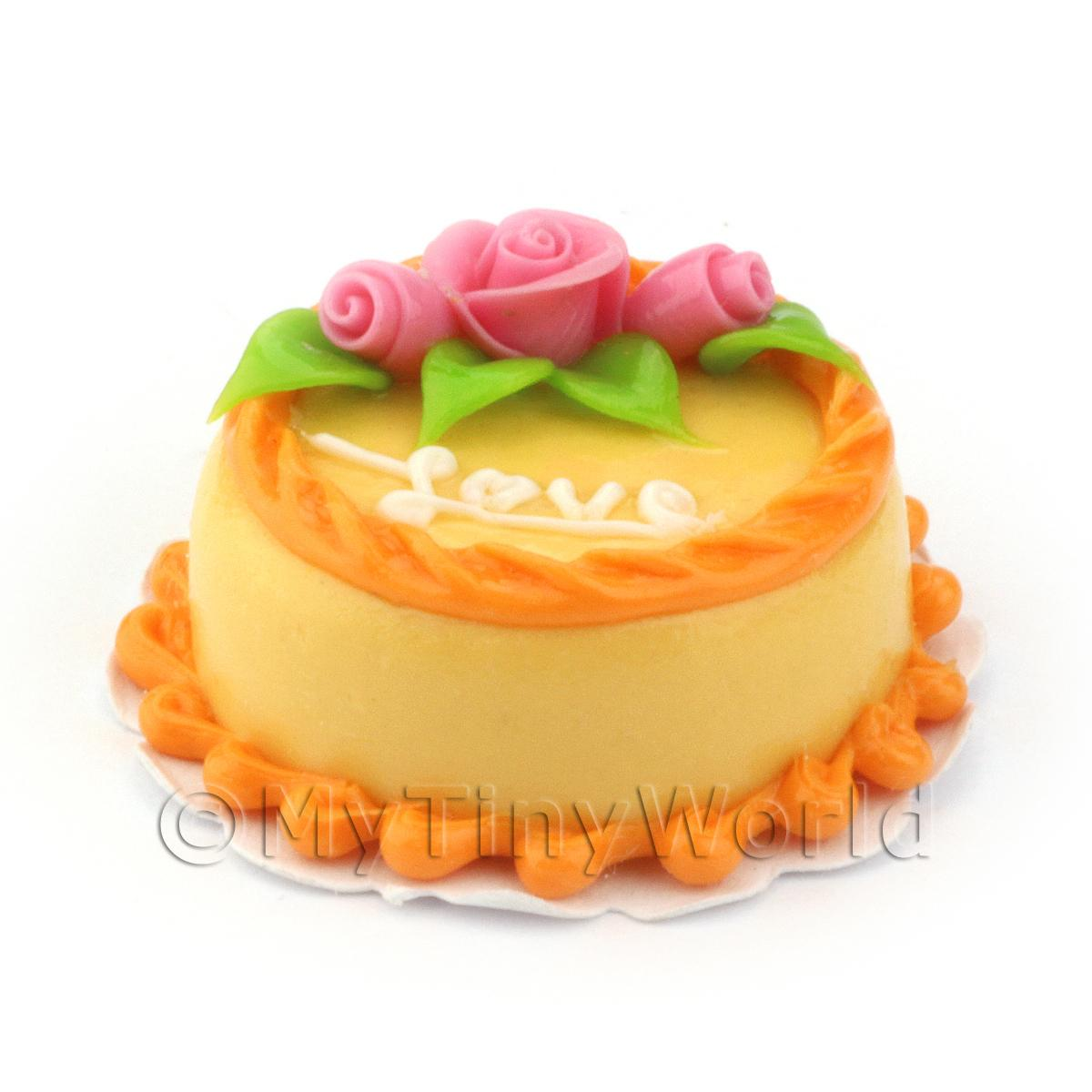Dolls House Miniature Orange Love Cake With Pink Roses