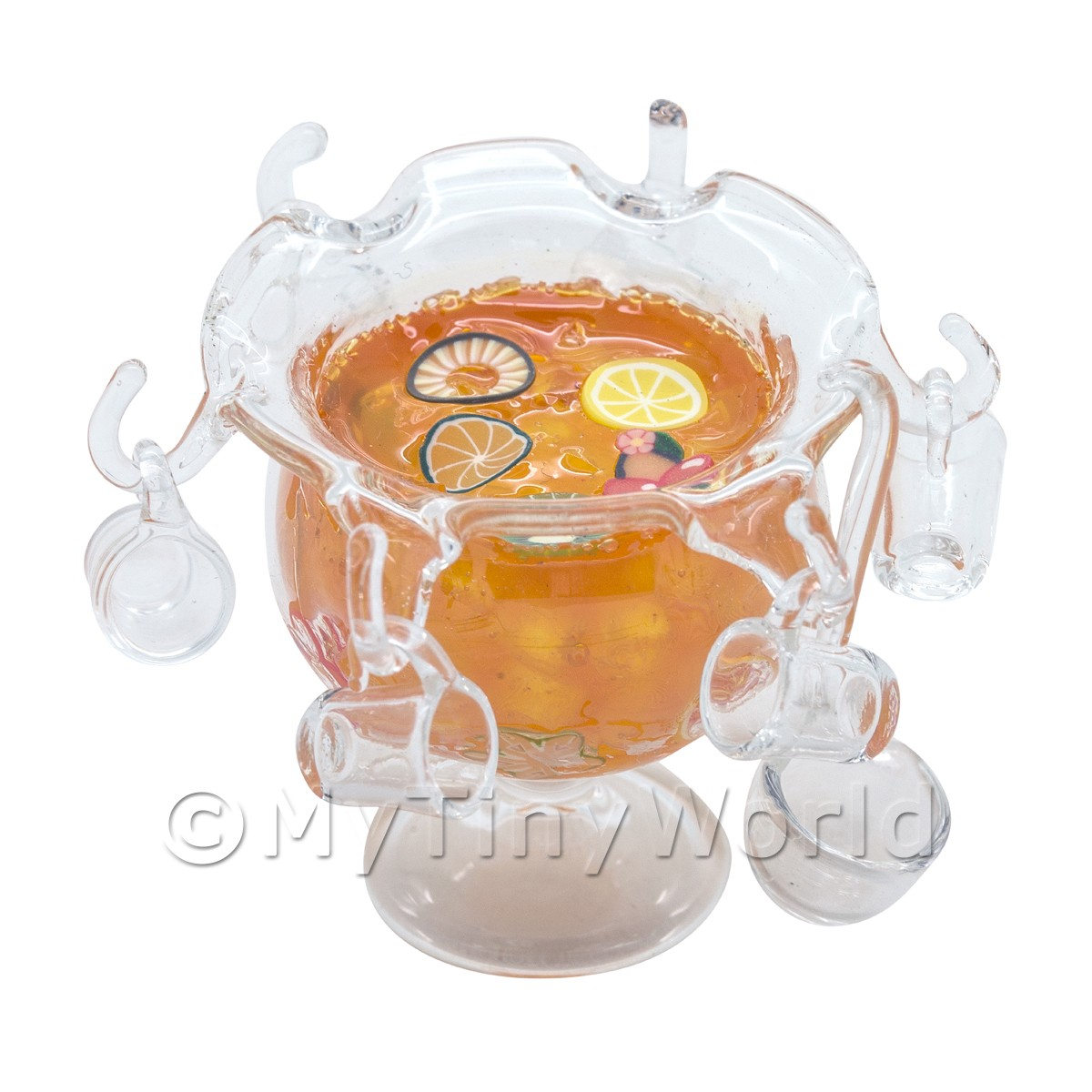 Dolls House miniature Orange Punch In a Glass Punch Bowl