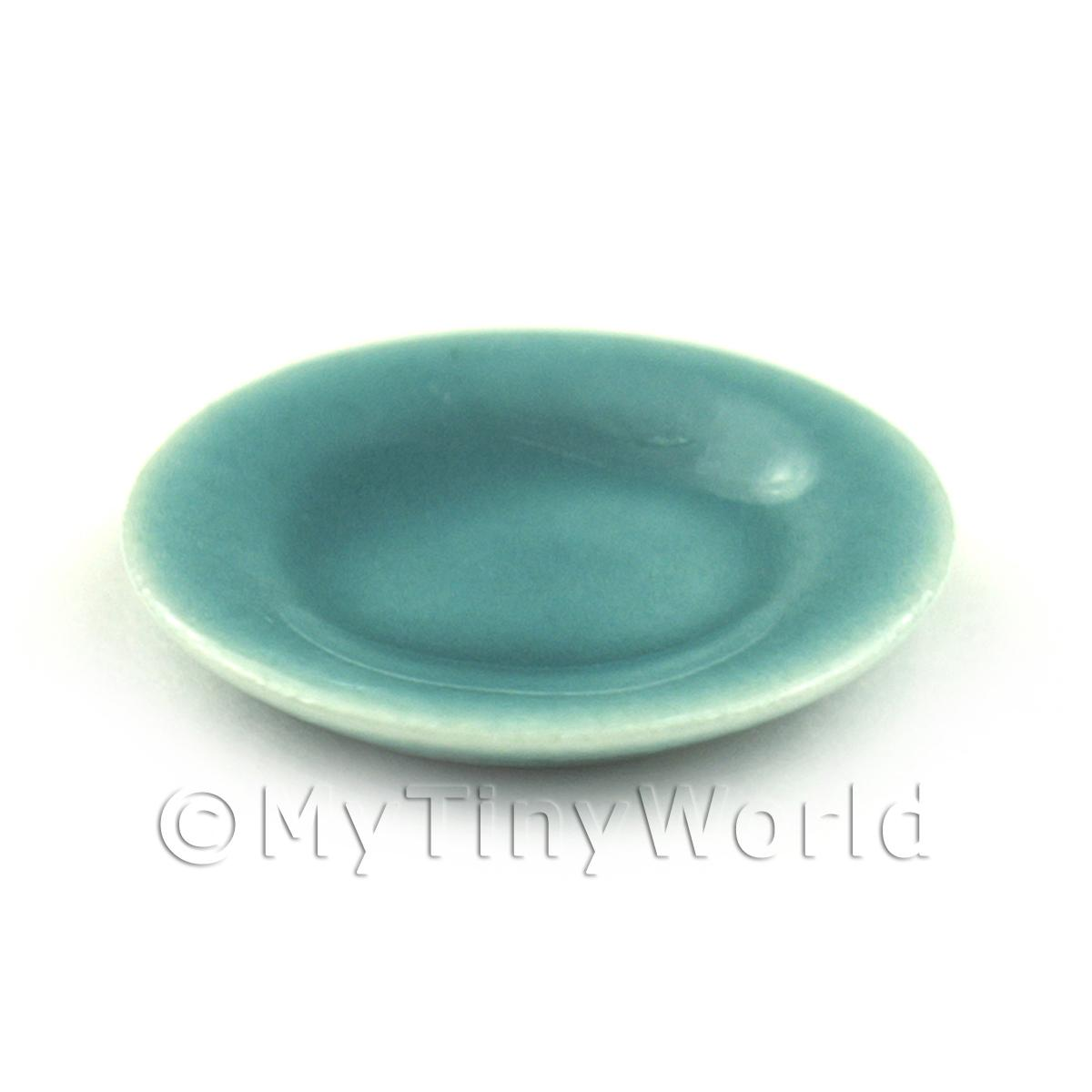 Dolls House Miniature 21mm Aquamarine Ceramic Plate