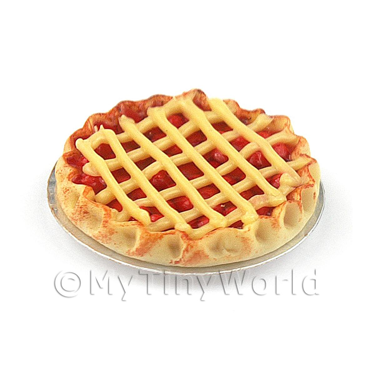 Dolls House Miniature Deep Filled Cherry Lattice Pie