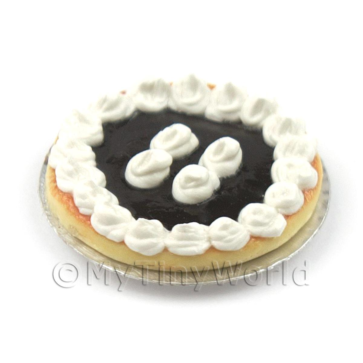 Dolls House Miniature Blackberry Tart With Fresh Whipped Cream Topping