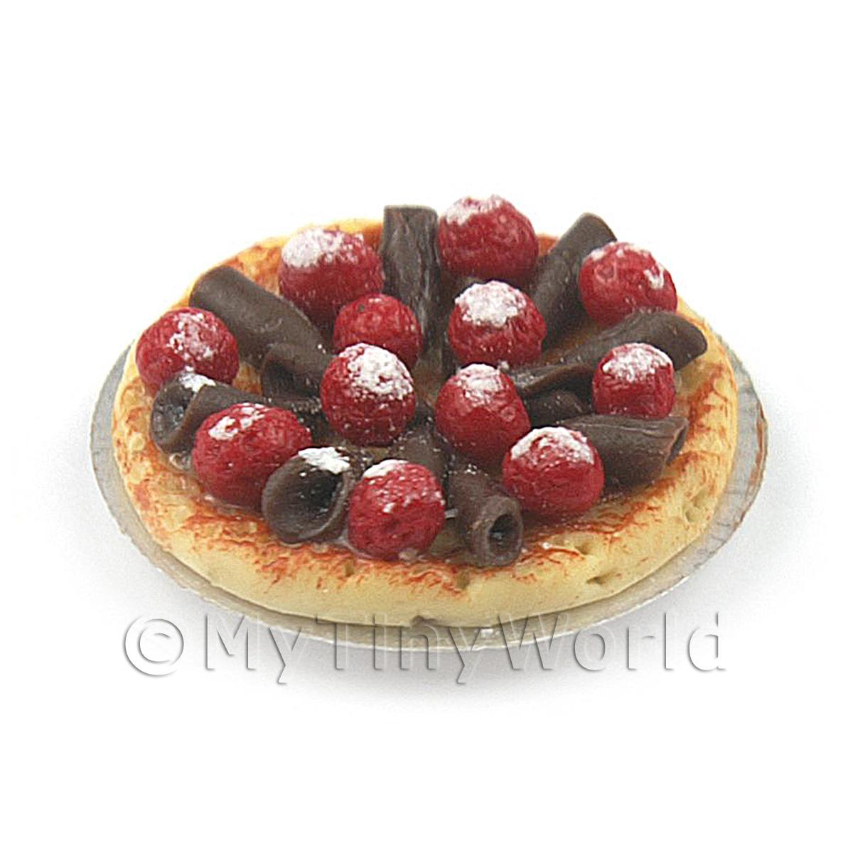 Dolls House Miniature Sugar Dusted Strawberry And Chocolate Tart