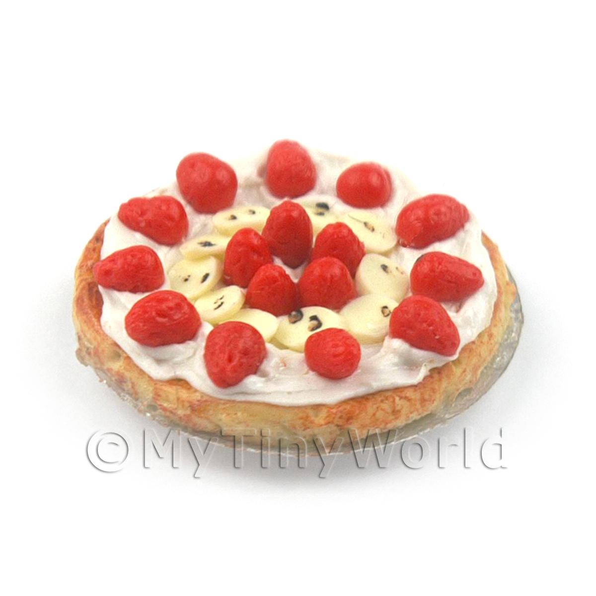 Dolls House Miniature Banana Strawberry Cream Filled Tart