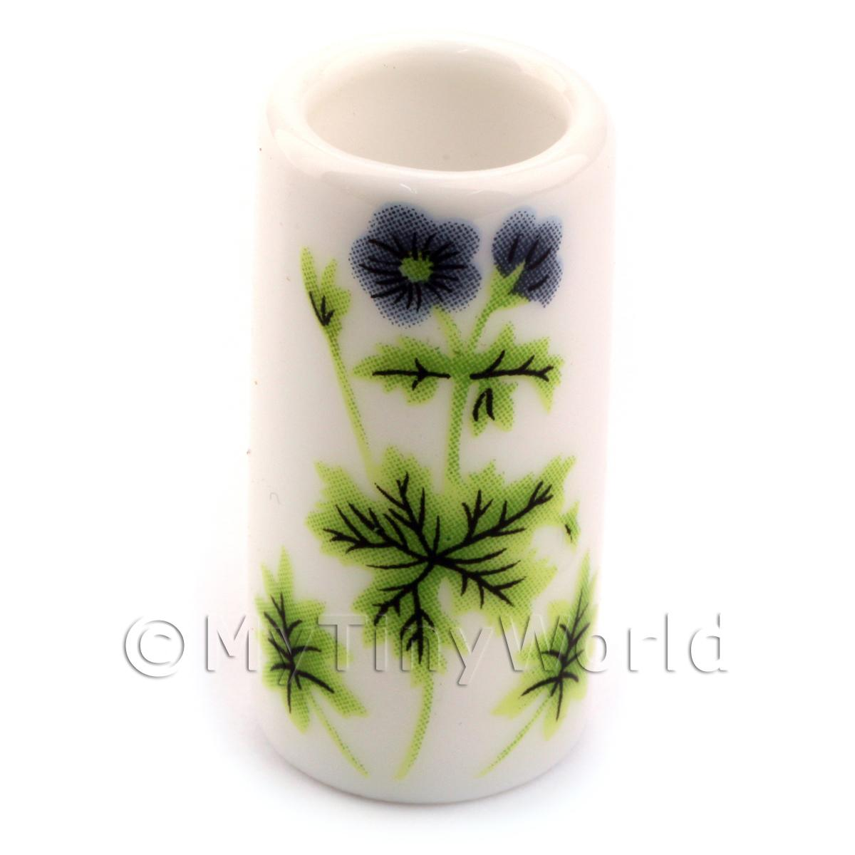 Dolls House Ceramic Walking Stick Stand With Green Flower Design