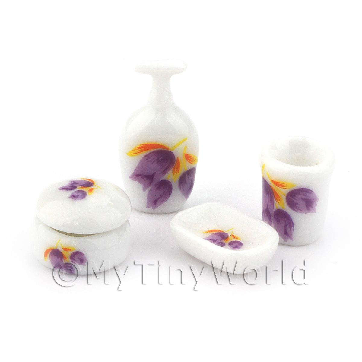Dolls House Miniature 4 Piece Ceramic Bathroom Set