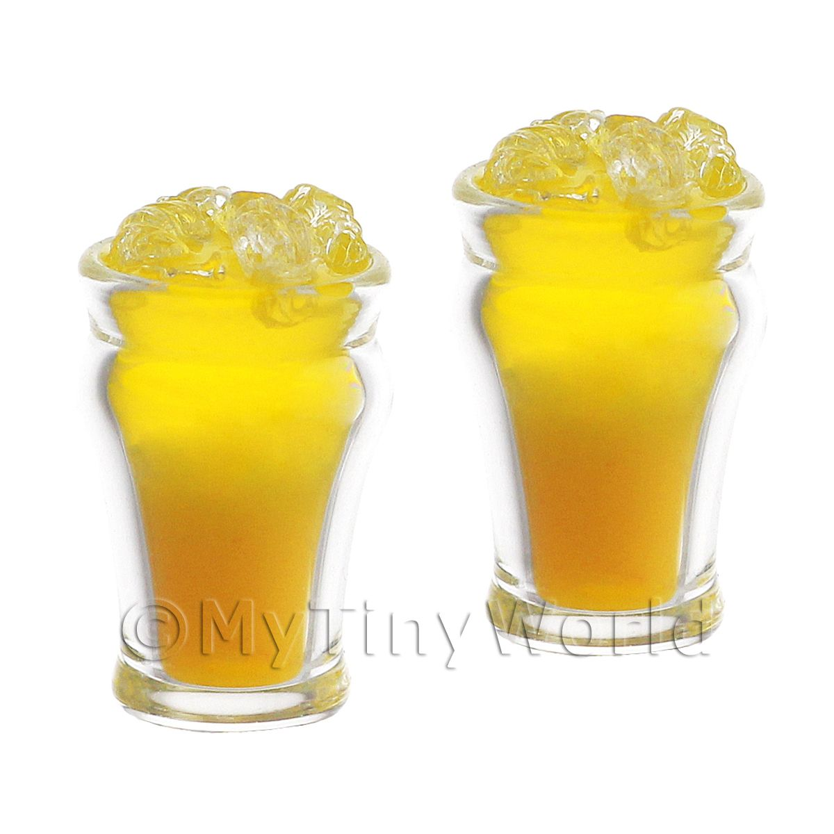 2 Miniature Mambo Cocktails On Ice served in a Hand Made Glasses