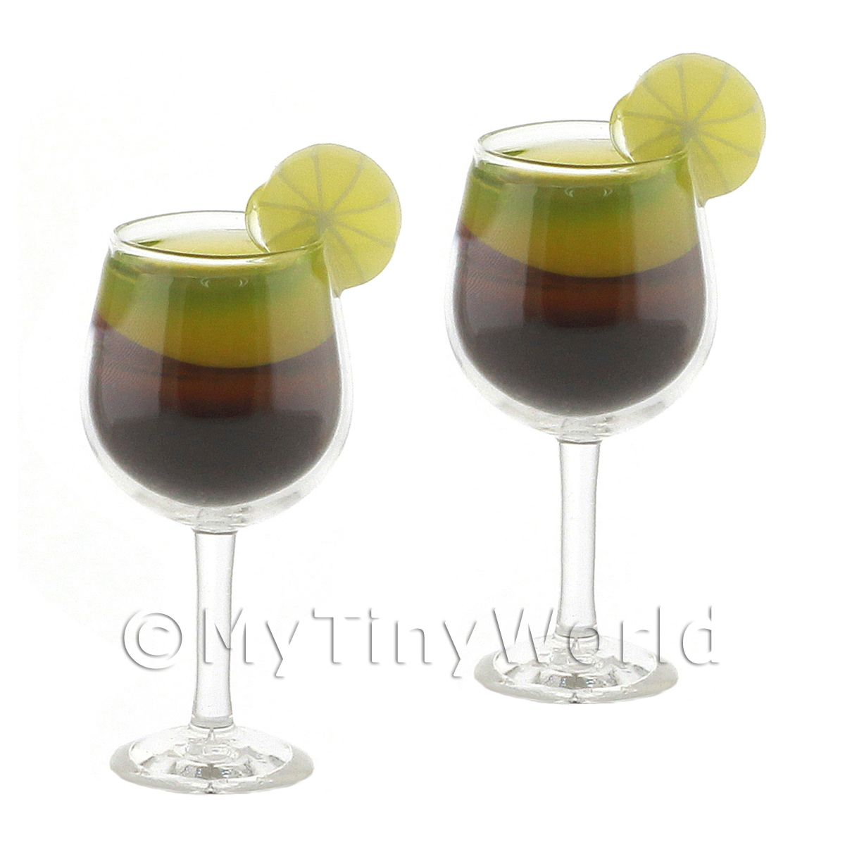 2 Miniature  Melon Midori Cocktails topped with a Slice of Lemon