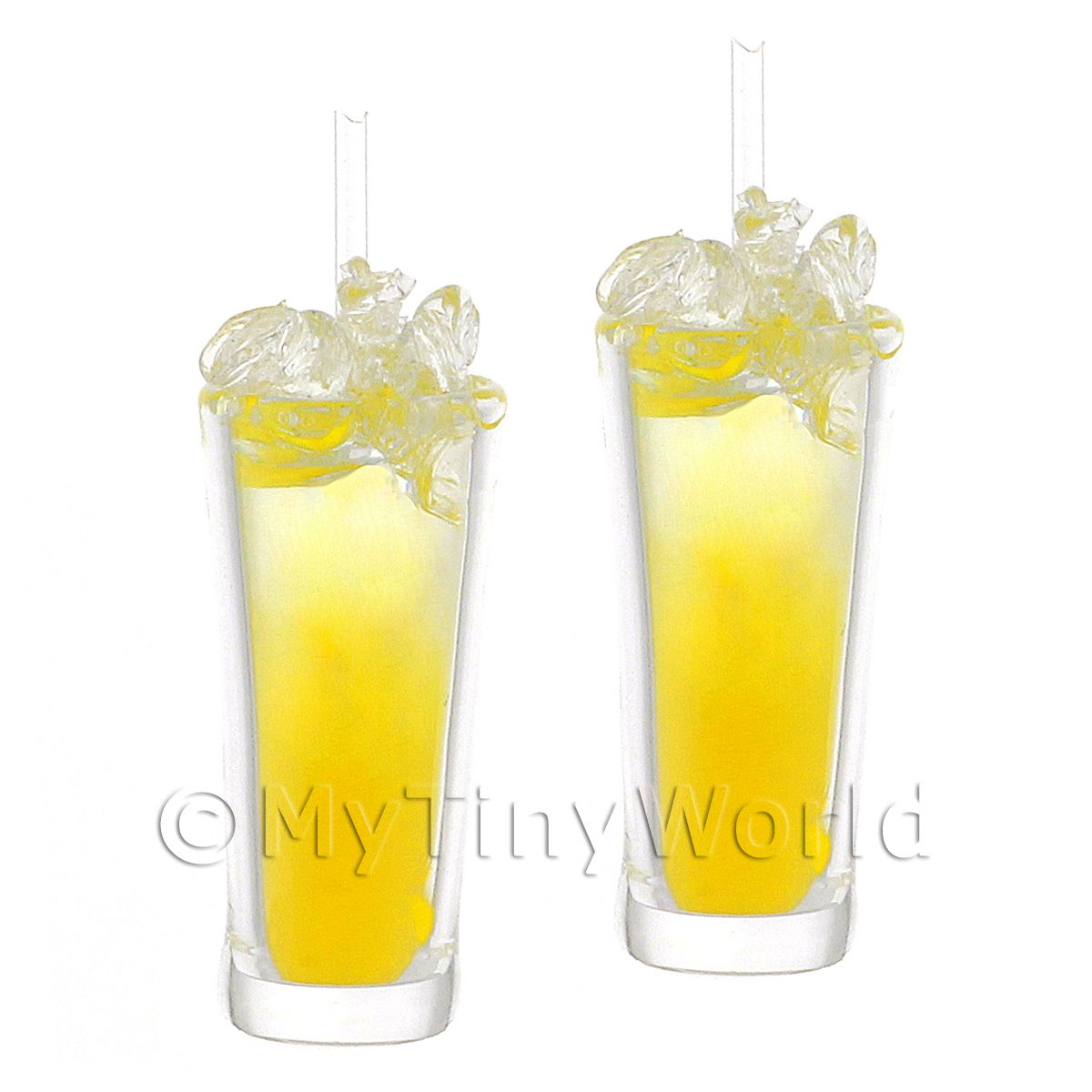 2 Miniature Yellow Bird Cocktails In Long Glasses