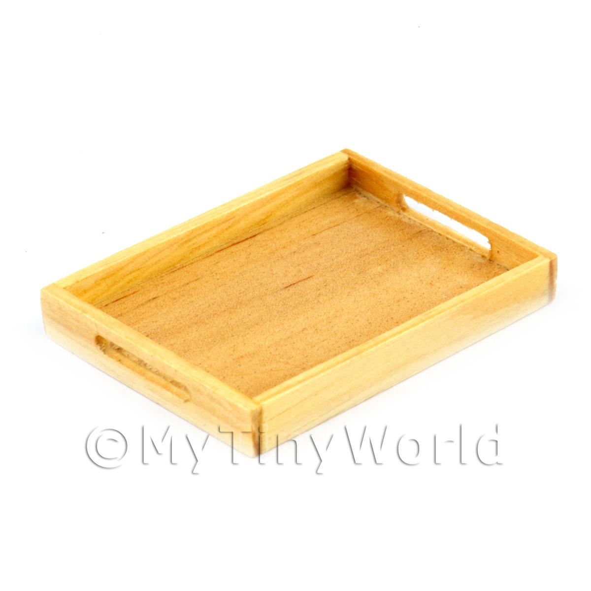 Dolls House Miniature Handmade Wooden Bakers Tray With Handles
