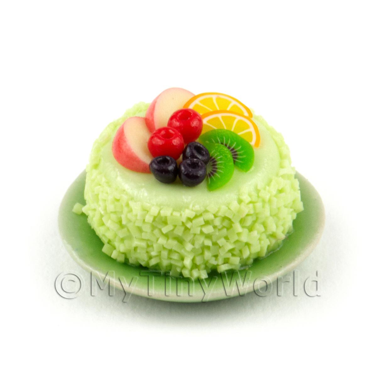 Miniature Miniature Fruit Topped Cake On a Plate