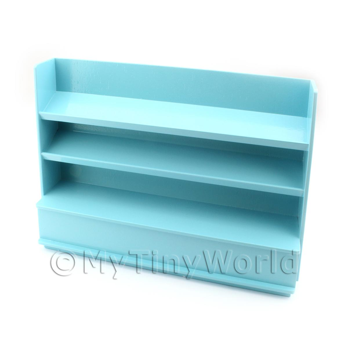 Dolls House Miniature Pale Blue Painted Wood Shelved Shop Display Unit