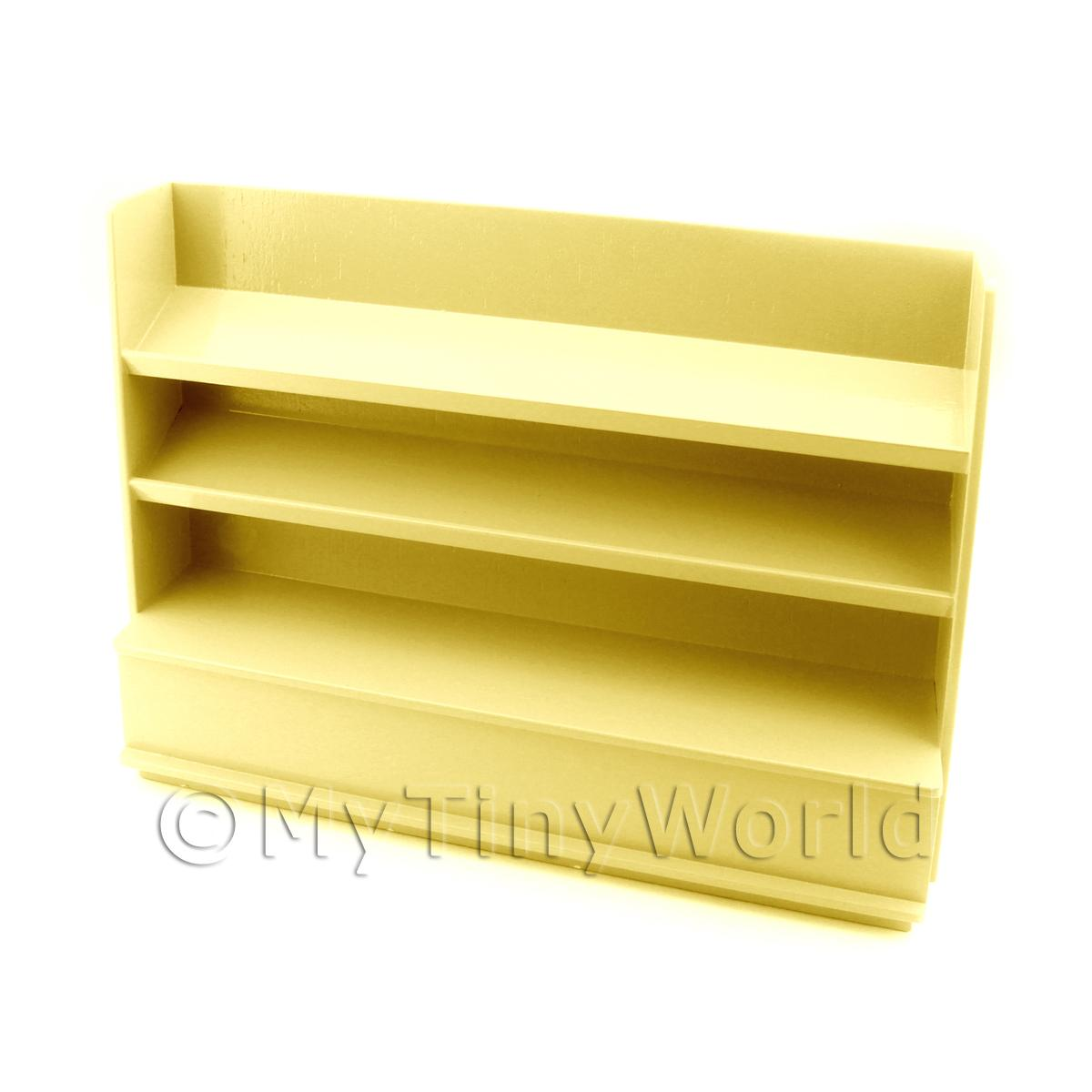 Miniature Light Yellow Painted Wood Shelved Shop Display Unit