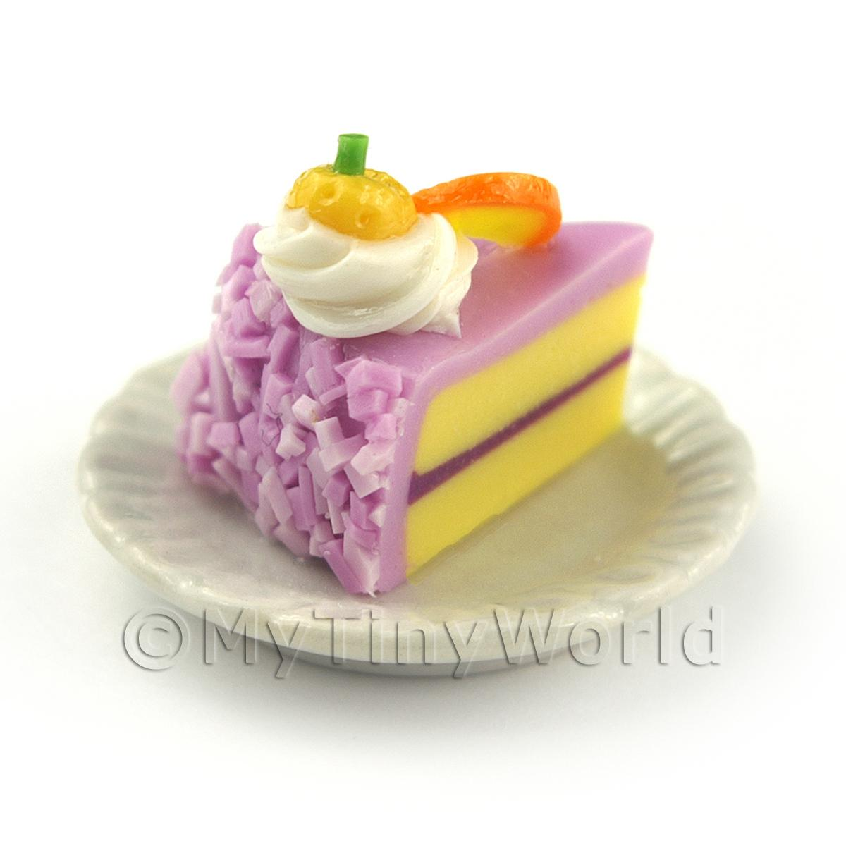 Miniature Purple Iced Individual Orange and Kumquat Cake Slice