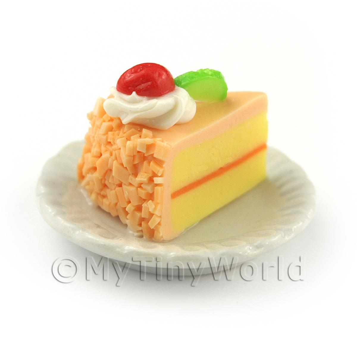 Dolls House Miniature Pink Iced  Individual Lime and Strawberry Cake Slice