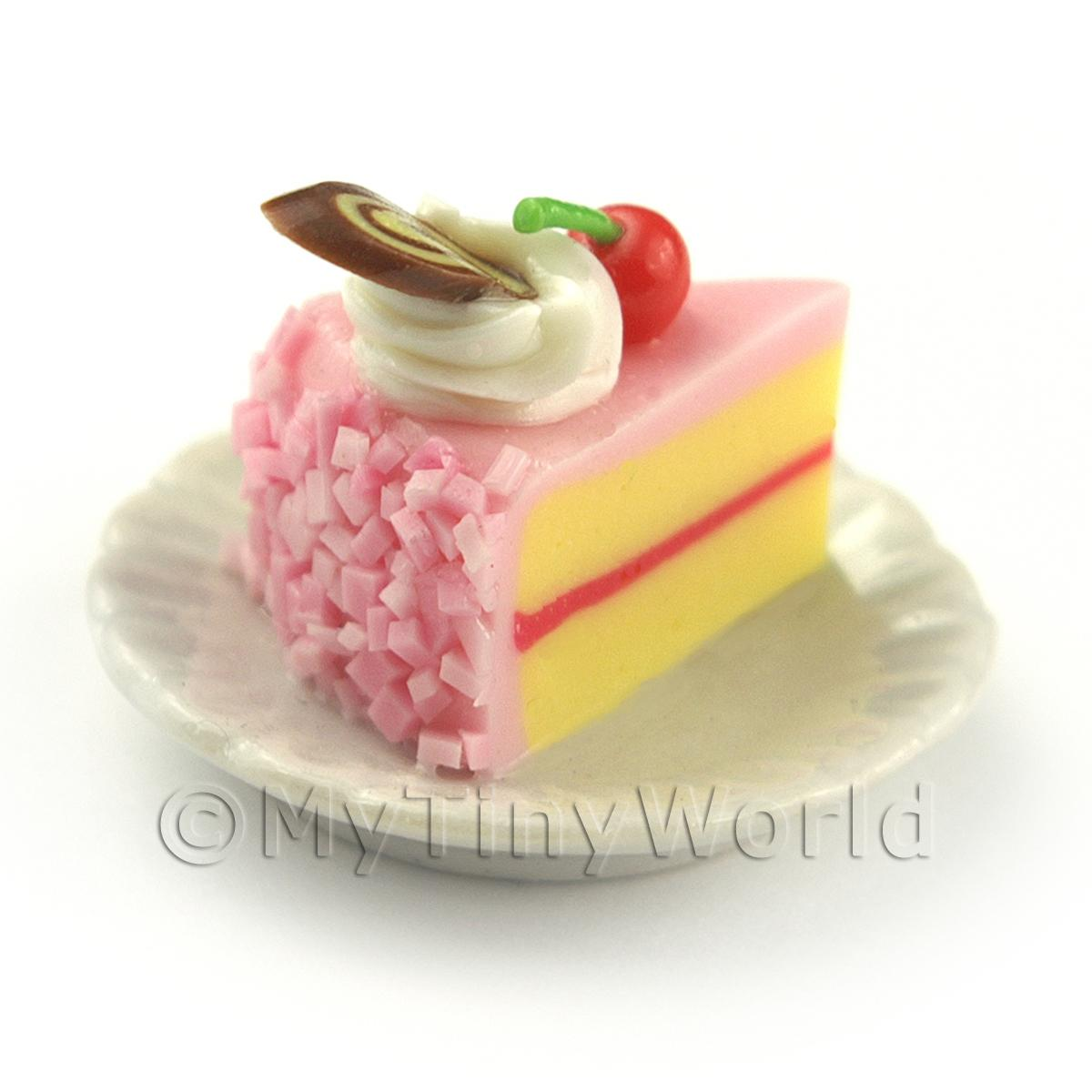 Miniature Pink Iced Individual Cherry and Nougat Cake Slice