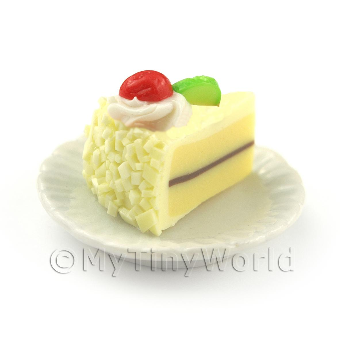 Dolls House White Iced Individual Lime and Strawberry Cake Slice