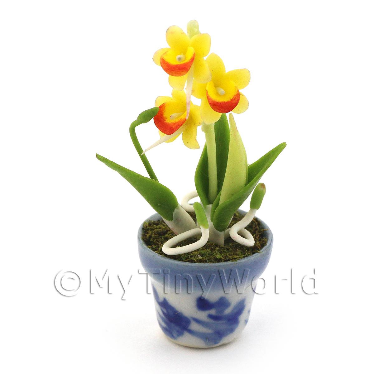 Dolls House Miniature Yellow Dendrobium Orchid