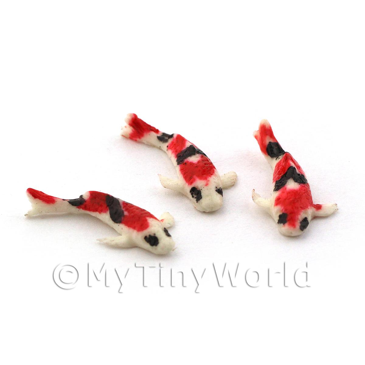 Dolls House Miniature 3 Small Koi Carp White, Red and Black