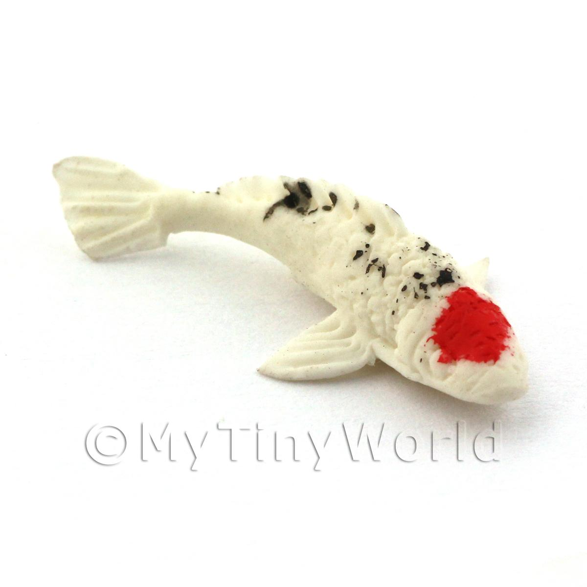 Dolls House Miniature Large Koi Carp White Black With Red Spot