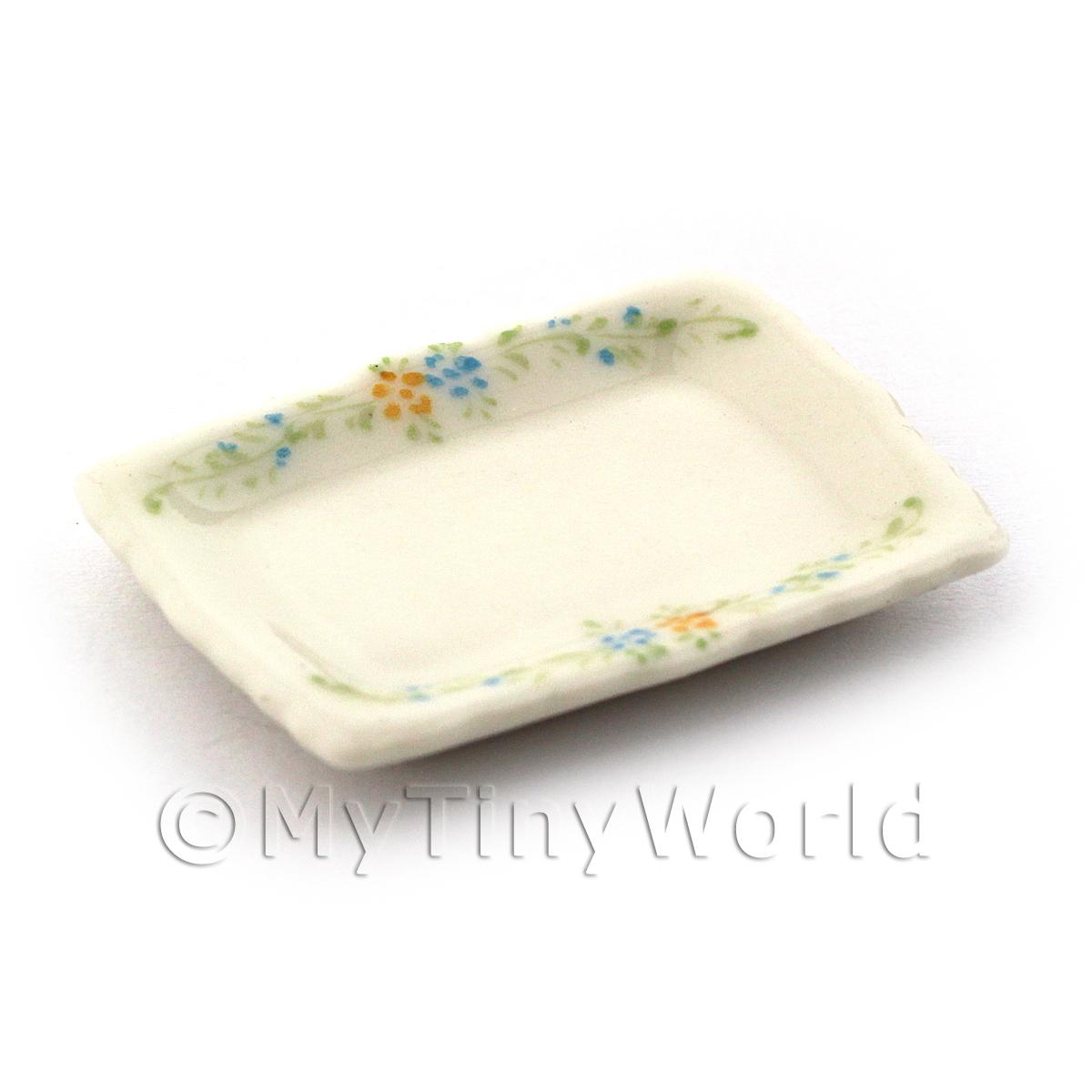 Dolls House Miniature Handmade Small Rectangle Painted Plate