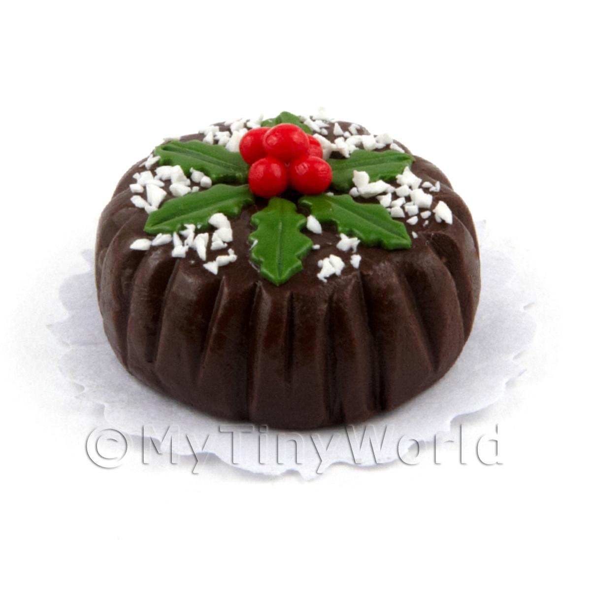 Dolls House Miniature Chocolate Christmas Cake With Berries and Hol