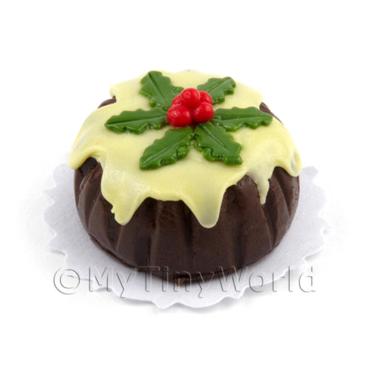 Miniature Chocolate Christmas Cake With Iced Top