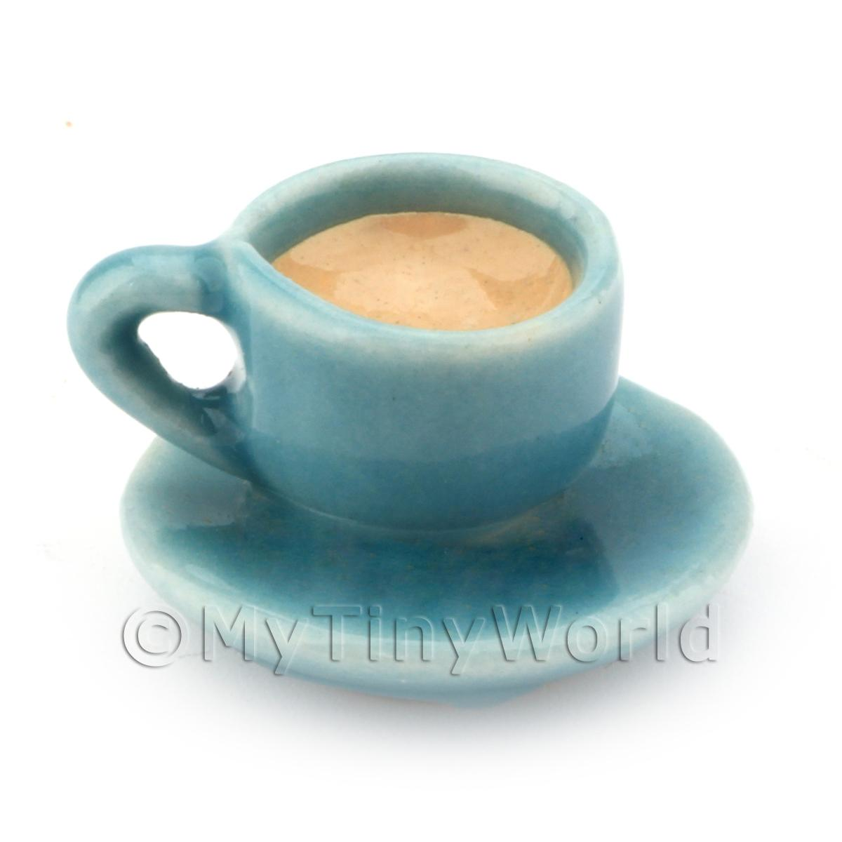 Dolls House Miniature Handmade Cup of Coffee / Tea - Aqua Ceramic