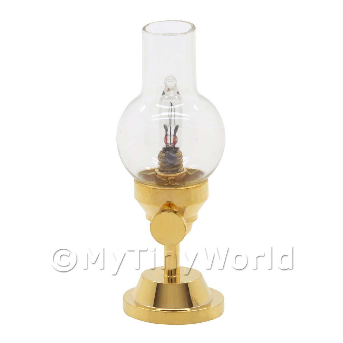 Dolls House Miniature Glass Top Hurricane Desk Lamp