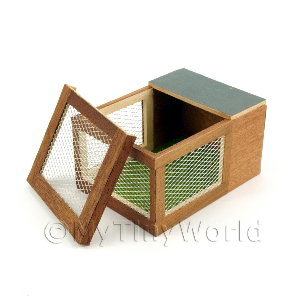 Dolls House Miniature Wooden Rabbit Hutch With Removable Top