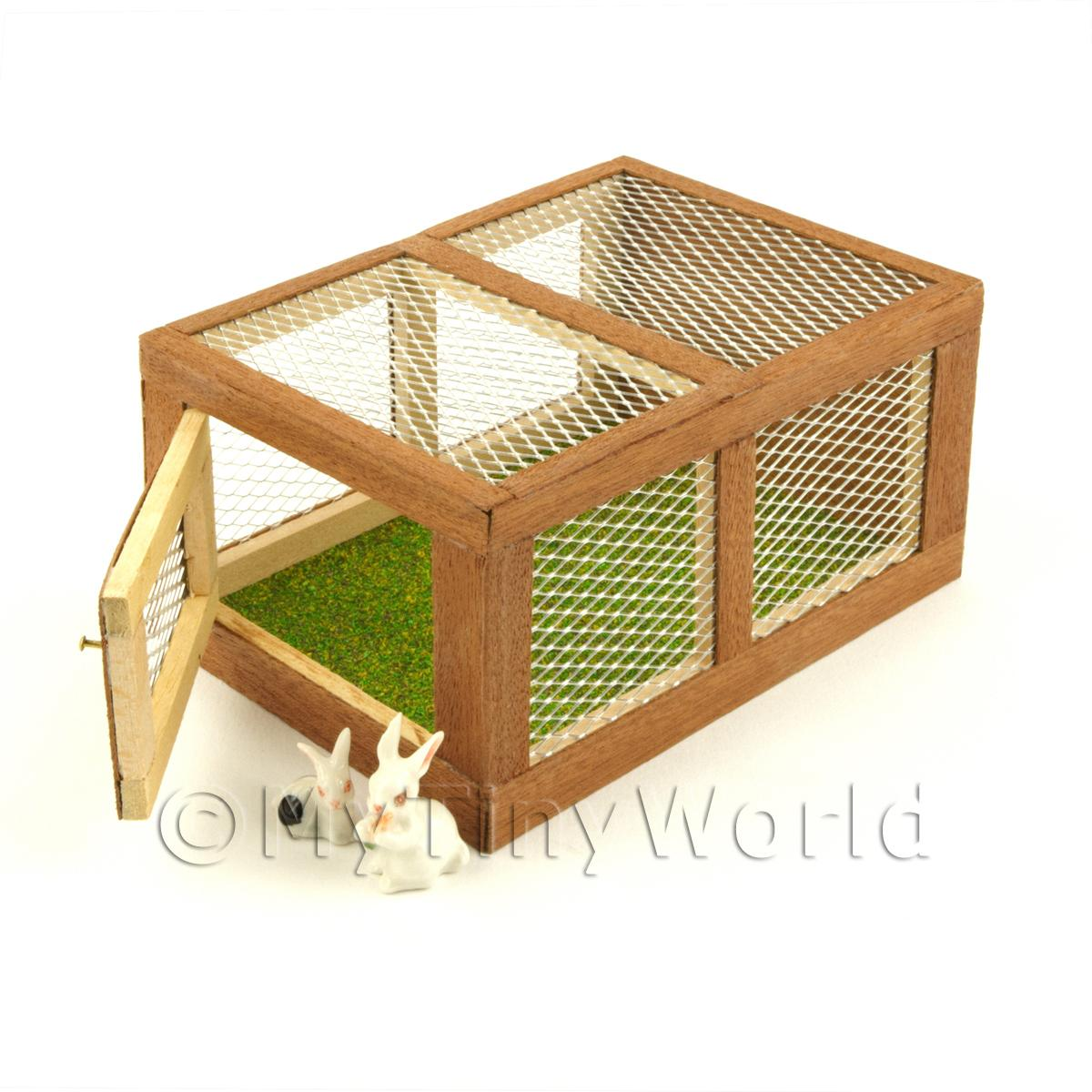 Miniature Wooden Rabbit Hutch With Front Opening Door And 2 Rabbits