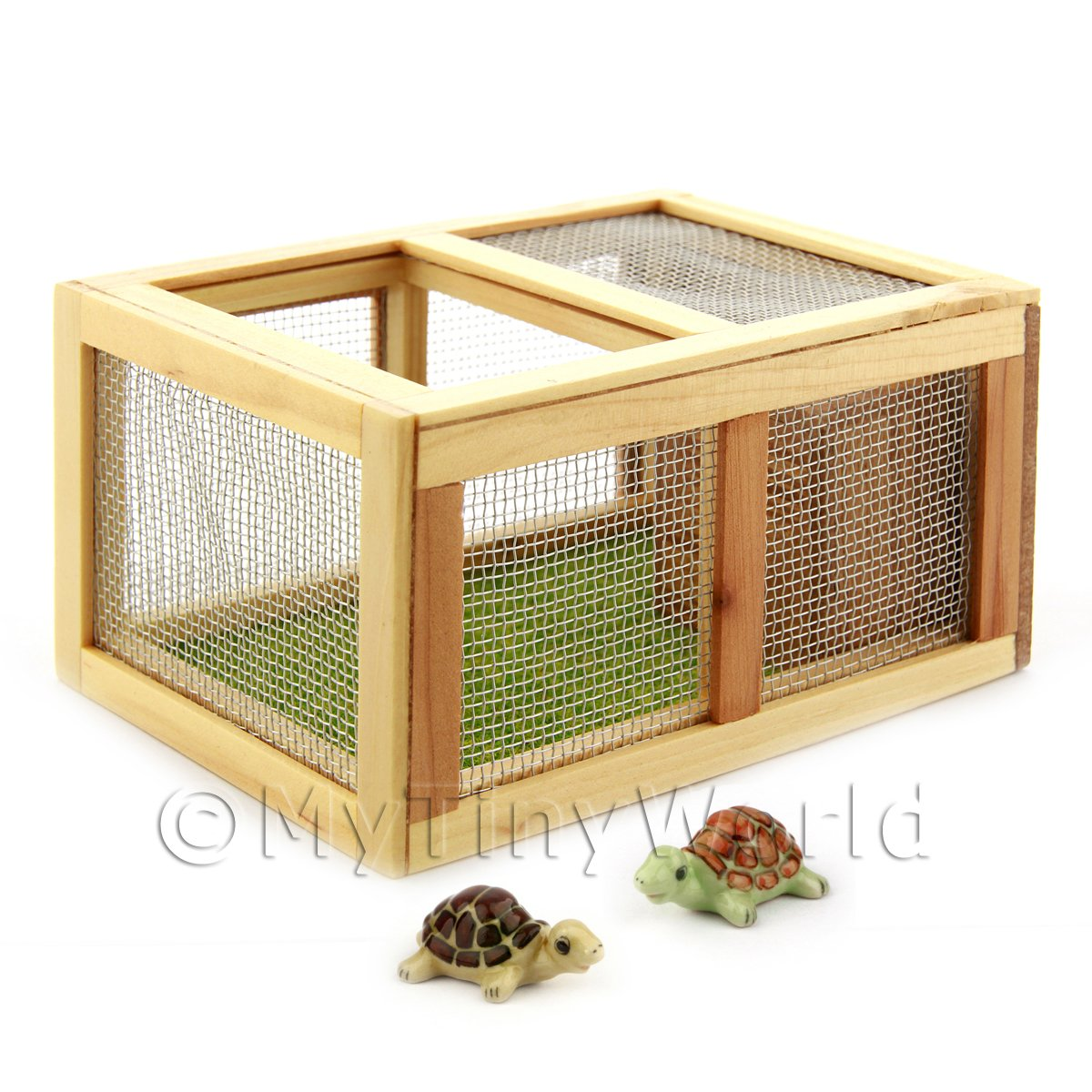 Dolls House Miniature Wooden Animal Hutch And 2 Tortoises