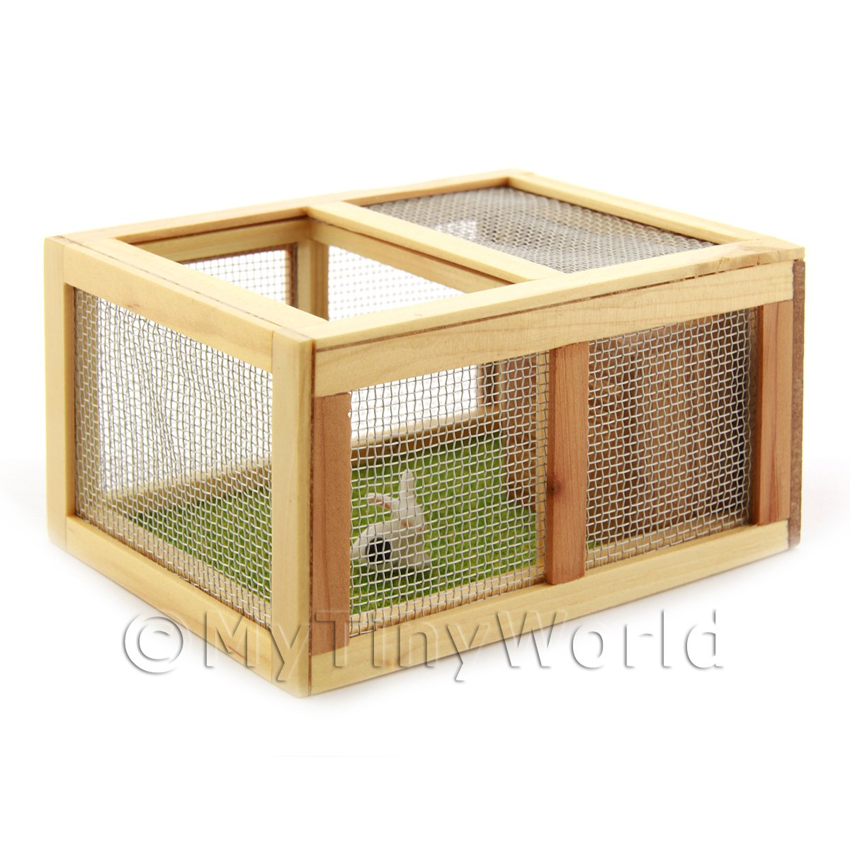 Dolls House Miniature Wooden Guniea Pig / Rabbit Hutch And Rabbit
