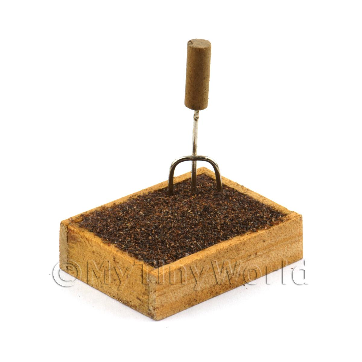 Miniature Garden Wooden Crate With Compost And Small Fork
