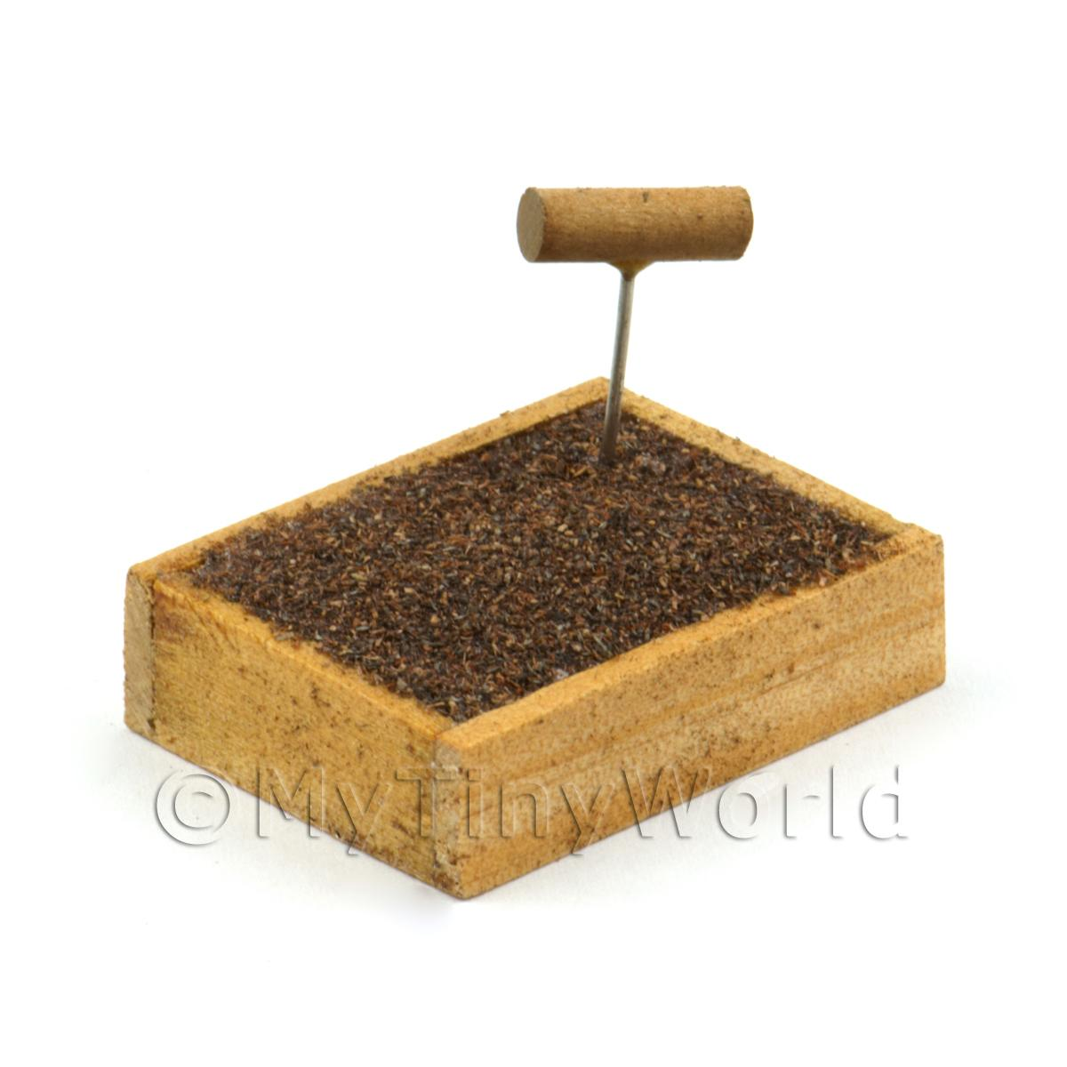 Miniature Garden Wooden Crate With Compost And Seeding Tool
