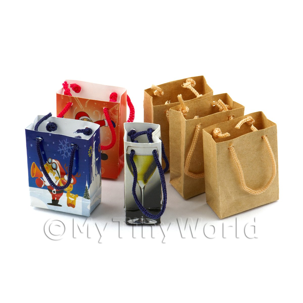 Dolls House Miniature  Set of 6 Assorted Handmade Paper Bags