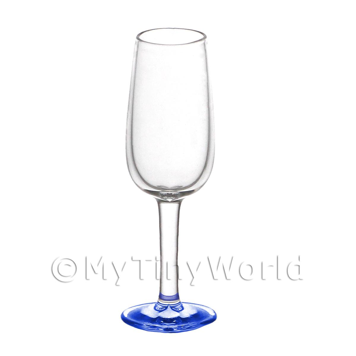 Dolls House Miniature Handmade Narrow Neck Blue Based Wine Glass