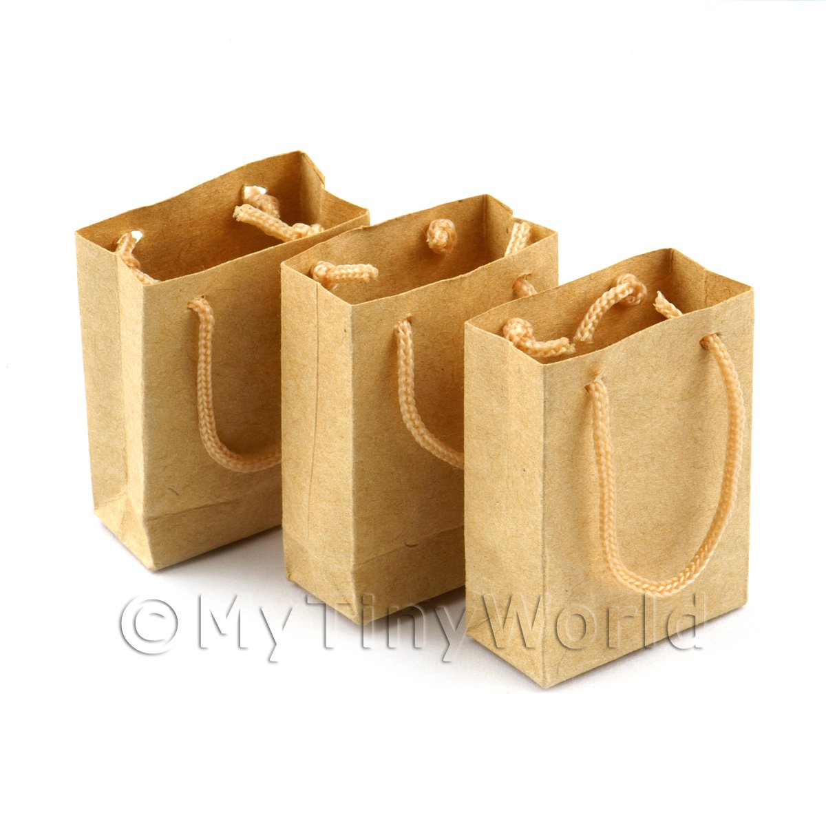Dolls House Miniature Set of 3 Handmade Brown Paper Bags